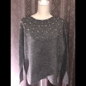 Loft Grey Sweater with Pearl Detailing